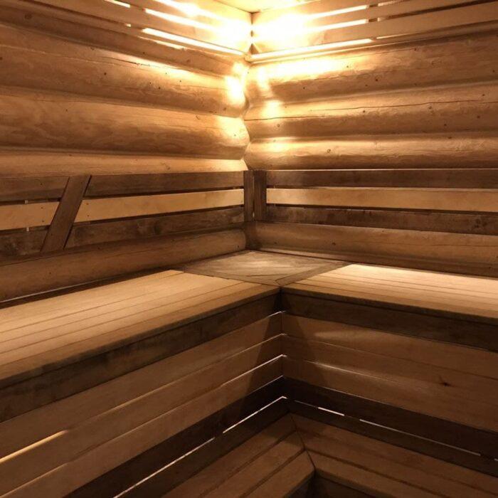 Фото отделки бани полок сорт 2